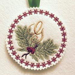 Pine Bough Alphabet and Ornament G