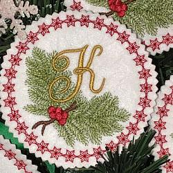 Pine Bough Alphabet and Ornament K