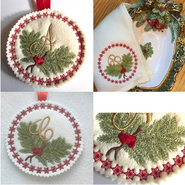Christmas alphabet embroidery,monogram embroidery, holiday embroidery