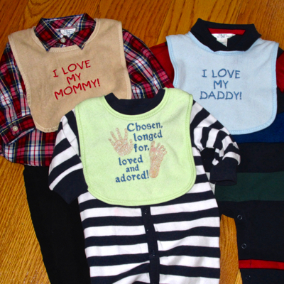 adopted baby embroidery designs chosen adored baby bibs