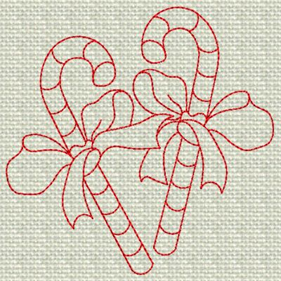 CANDY CANES REDWORK 4x4x