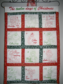 12 days of Christmas embroidery redwork designs wall hanging