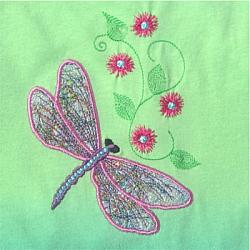DRAGONFLY THREADS APPLIQUE 5X7
