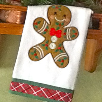 gingerbread embroidery applique design on towel
