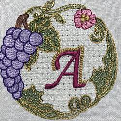 Luscious Grapes Monogram A and Gift Tag