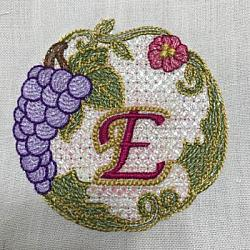 Luscious Grapes Monogram E and Gift Tag