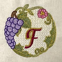 Luscious Grapes Monogram F and Gift Tag