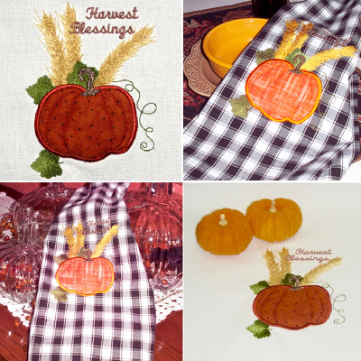 HARVEST PUMPKIN APPLIQUE 5X7