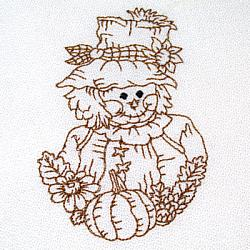 Fall Scarecrow Redwork 4X4